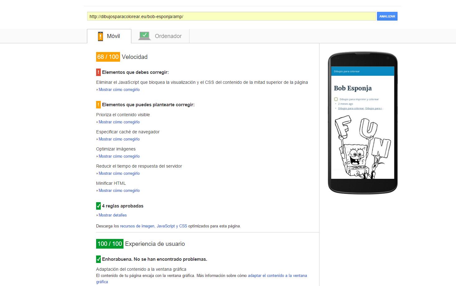 Con AMP en page speed insights de google