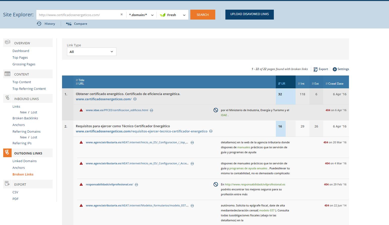 web de informes de evaluacion de edificios o iee con enlaces salientes rotos